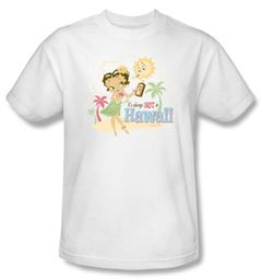 Betty Boop T-shirt Hot In Hawaii Adult White Tee