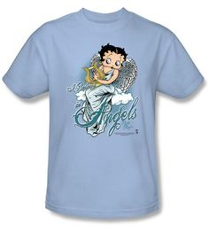 Betty Boop T-shirt I Believe In Angels Adult Light Blue Tee