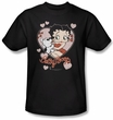 Betty Boop T-shirt Kiss Adult Black Tee