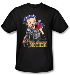 Betty Boop T-shirt Not Your Average Mother Adult Black Tee