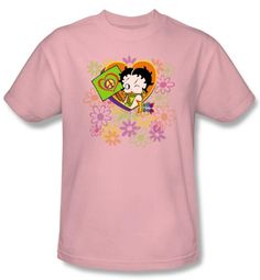Betty Boop T-shirt Peace Love and Boop Adult Pink Tee