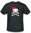 Betty Boop T-shirt Pirate Adult Black Tee