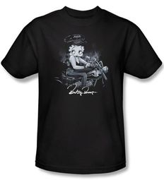Betty Boop T-shirt Storm Rider Adult Black Tee