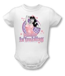 Betty Page Romper Pin Up In Training White Baby Creeper
