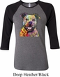 Beware of Pit Bulls They Will Steal Your Heart Ladies Raglan Shirt