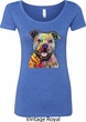 Beware of Pit Bulls They Will Steal Your Heart Ladies Scoop Neck Shirt
