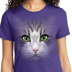 Big Cat Face Ladies Shirts