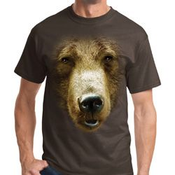 Big Grizzly Bear Face Mens Shirts