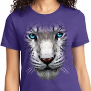Big White Tiger Face Ladies Shirts