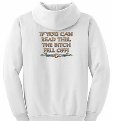 Biker Hoodie Hooded Sweatshirt The Bitch Fell Off White Hoody