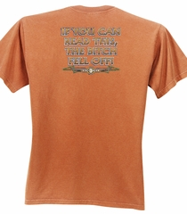 Biker Pigment Dyed T-shirt The Bitch Fell Off Burnt Orange Tee Shirt