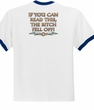 Biker Ringer T-shirt The Bitch Fell Off White/Royal Shirt