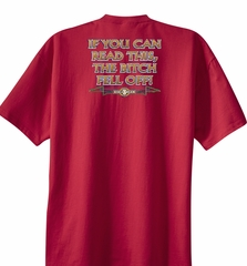 Biker T-shirt If You Can Read This, The Bitch Fell Off Red Tee Shirt