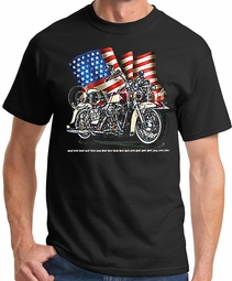 Biker T-shirt Motorcycle American Flag Patriotic Tee Shirt