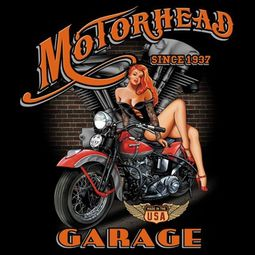 Biker T-shirt - Motorhead Garage Bike Chick Tee Shirt