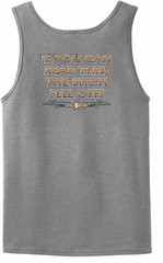 Biker Tank Top If You Can Read This, The Bitch Fell Off Grey Tanktop