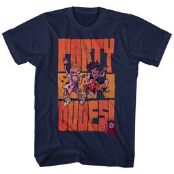 Bill And Ted Shirt Animated Party Dudes Navy Blue T-Shirt