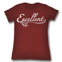 Bill And Ted Shirt Juniors Excellent Maroon Heather T-Shirt