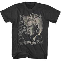 Billy Idol Shirt 1984 Rebel Yell Tour Black T-Shirt