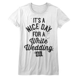 Billy Idol Shirt Juniors A Nice Day For a White Wedding White T-Shirt