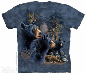 Black Bears Shirt Tie Dye Adult T-Shirt Tee