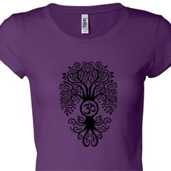 Black Bodhi Tree Ladies Yoga Shirts