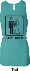 Black Game Over Ladies Longer Length Racerback Tank Top