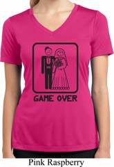 Black Game Over Ladies Moisture Wicking V-neck Shirt