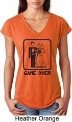 Black Game Over Ladies Tri Blend V-Neck Shirt