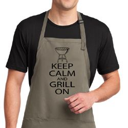 Black Keep Calm Grill On Aprons