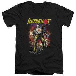 Bloodshot Shirt Slim Fit V-Neck Comic Black T-Shirt