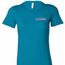 Blue Dodge Charger Pocket Print Ladies Shirts