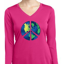 Blue Earth Peace Ladies Dry Wicking Long Sleeve Shirt