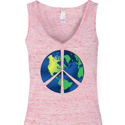 Blue Earth Peace Ladies Flowy V-neck Tanktop