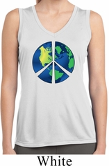 Blue Earth Peace Ladies Sleeveless Moisture Wicking Shirt