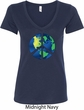 Blue Earth Peace Ladies V-Neck Shirt