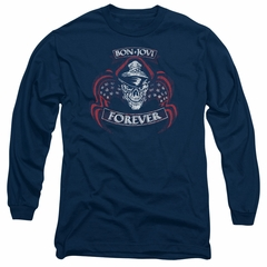 Bon Jovi Long Sleeve Shirt Forever Skull Navy Blue Tee T-Shirt