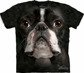 Boston Terrier Shirt Tie Dye Dog Face T-shirt Adult Tee
