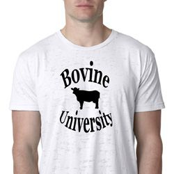 Bovine University Mens Burnout Shirt, White