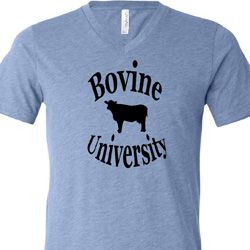 Bovine University Mens Tri Blend V-neck Shirt