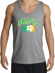 Brazil Soccer Tank Top Futbol Tanktop Sports Grey