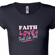 Breast Cancer Awareness Faith Love Fight Ladies Shirts