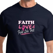 Breast Cancer Awareness Faith Love Fight Mens Shirts