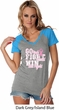 Breast Cancer Awareness Go Fight Win Ladies Contrast V-Neck Shirt