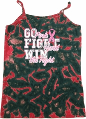 Breast Cancer Awareness Go Fight Win Ladies Tie Dye Camisole Tank Top