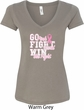 Breast Cancer Awareness Go Fight Win Ladies V-Neck Shirt