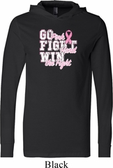 Breast Cancer Awareness Go Fight Win Lightweight Hoodie Tee