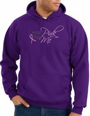 Breast Cancer Awareness Hoodie - I Wear Pink For Me Purple Hoody
