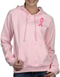 Breast Cancer Ladies Hoodies Embroidered Ribbon Hoody