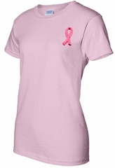 Breast Cancer Awareness Ladies T-shirt Embroidered Ribbon Pink Tee